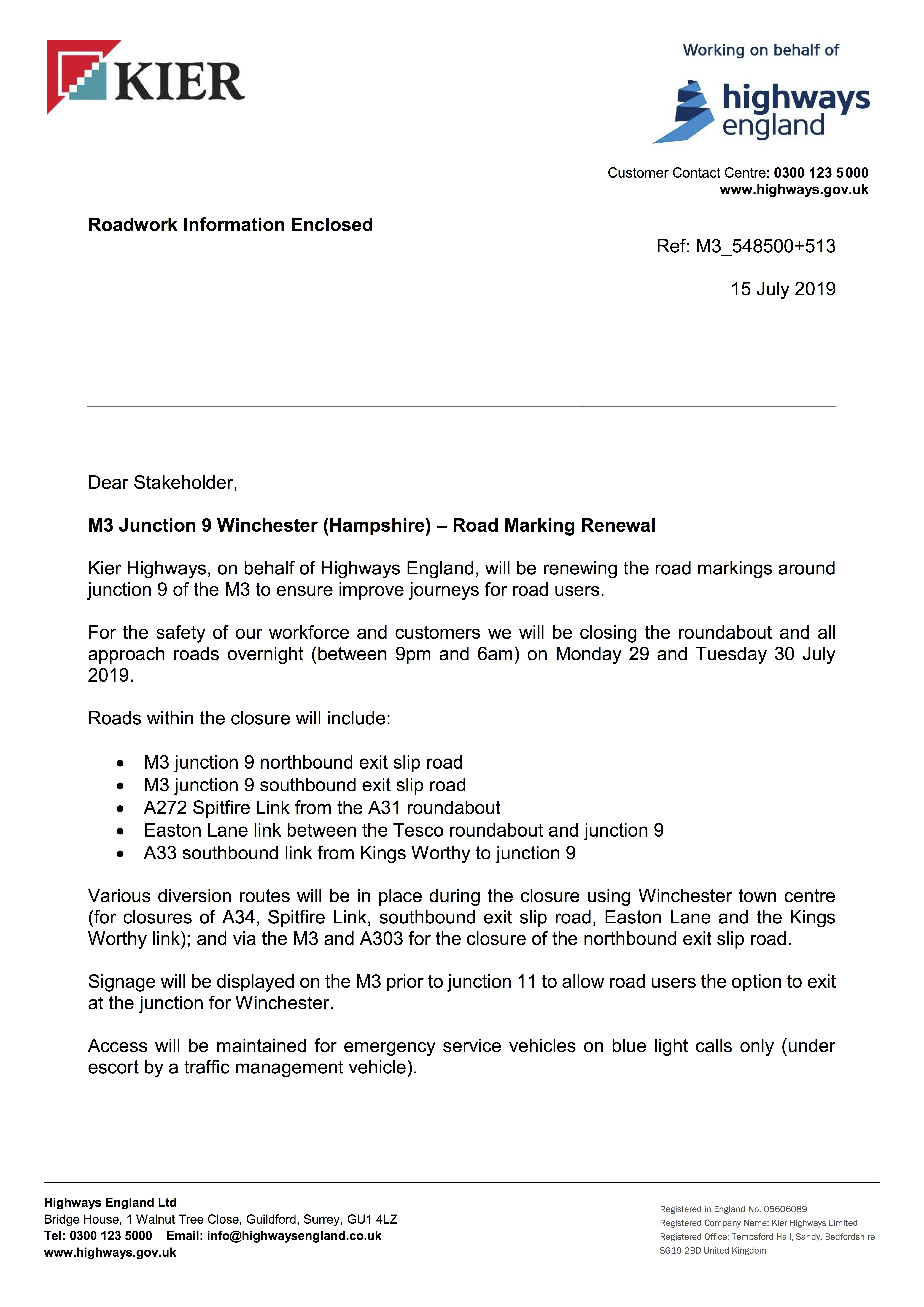 190716 M3 J9 Roundabout Stakeholder Letter